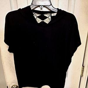 Black Cap sleeved hoodie with back detailing